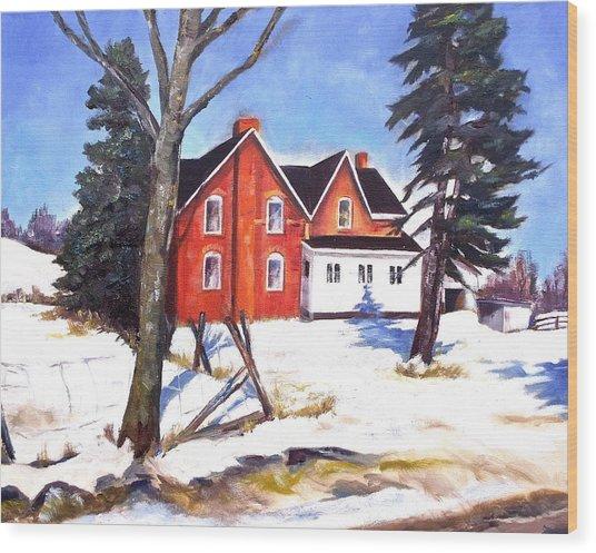 Red House In Rural Ontario Wood Print