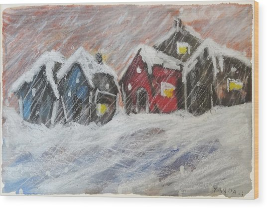 Red House In The Snow Wood Print
