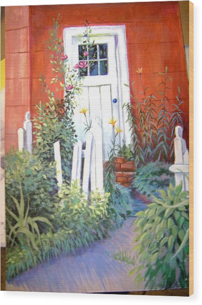 Red House Wood Print by Judy Keefer