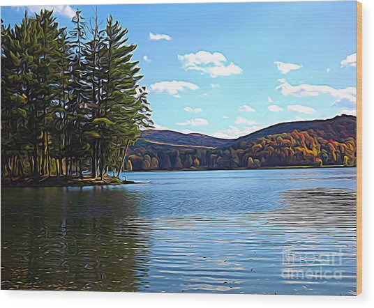Wood Print featuring the photograph Red House Lake Allegany State Park In Autumn Expressionistic Effect by Rose Santuci-Sofranko