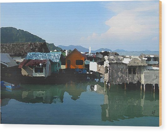 Wood Print featuring the digital art Red House On The Water by Shelli Fitzpatrick