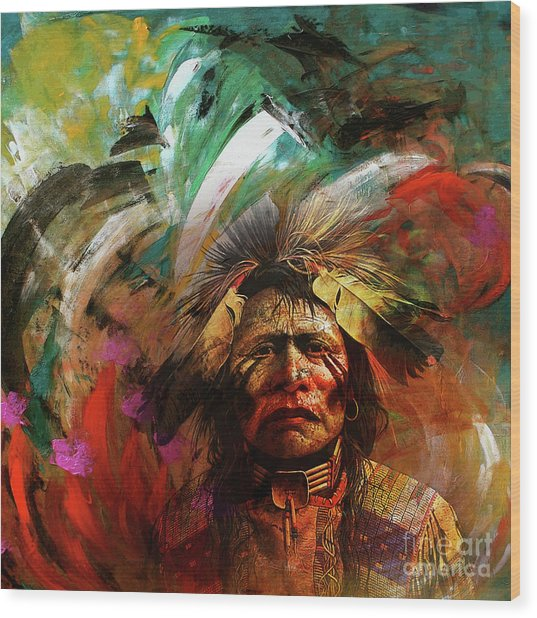 Red Indians 02 Wood Print