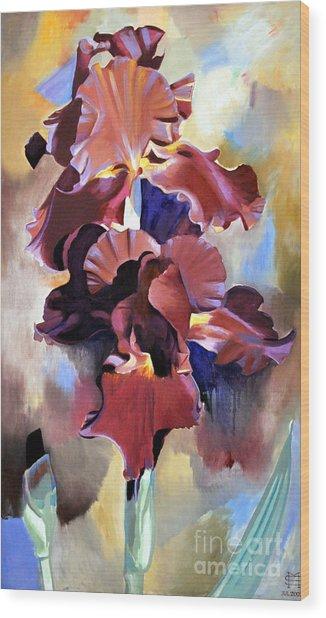 Red Irises Wood Print by Michael Stoyanov