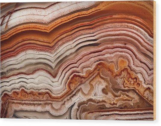 Red Laguna Lace Agate Wood Print