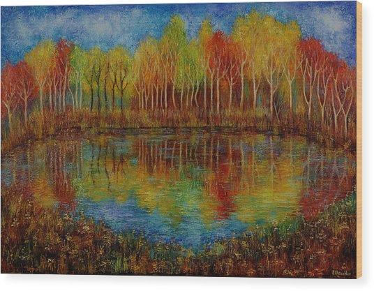 Red Lake. Wood Print by Evgenia Davidov