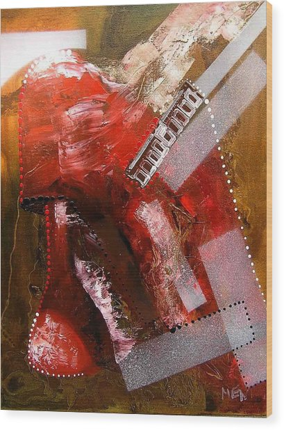 Red Lamp Transformation Wood Print by Evguenia Men