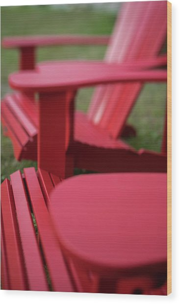 Red Lawn Chair Number 2 Wood Print