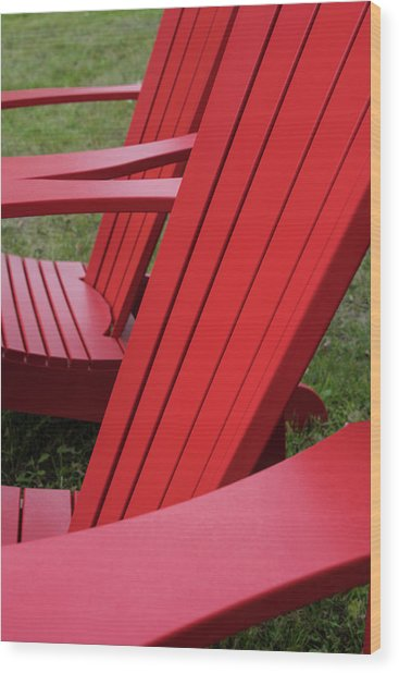 Red Lawn Chair Wood Print