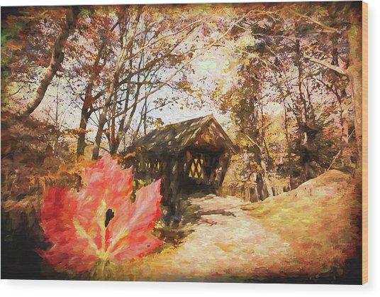 Red Leaves A Covered Bridge Wood Print