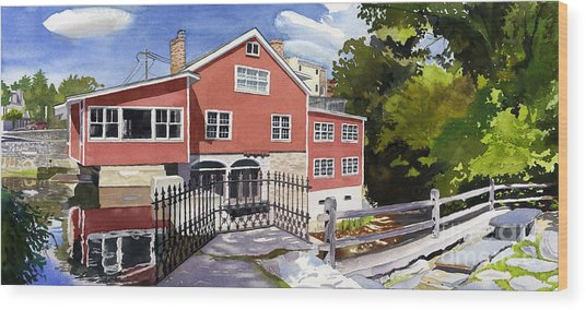 Red Mill Manchester Vt Wood Print by Hollis Machala
