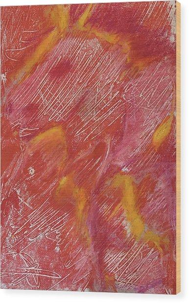 Red Monoprint One Wood Print