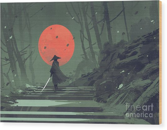 Wood Print featuring the painting Red Moon Night by Tithi Luadthong