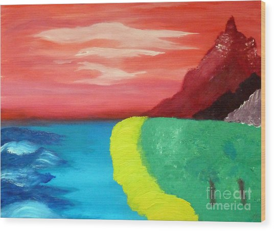 Red Mountain By The Sea Wood Print