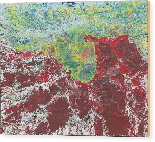 Red Mountains Yellow Sun Wood Print