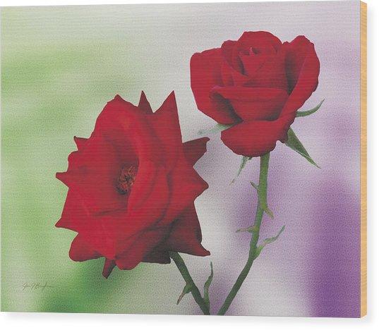 Red Mr. Lincoln Roses Wood Print by Jan Baughman