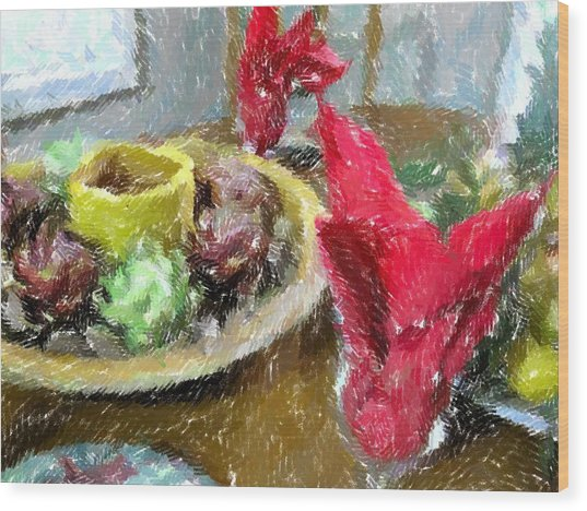 Red Napkins Wood Print by Michael Morrison