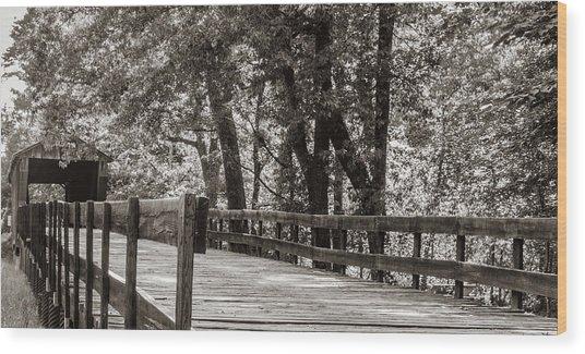Red Oak Creek Covered Bridge Approach Wood Print