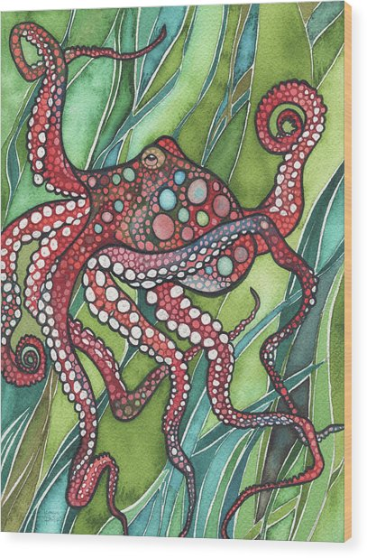 Red Octo Wood Print