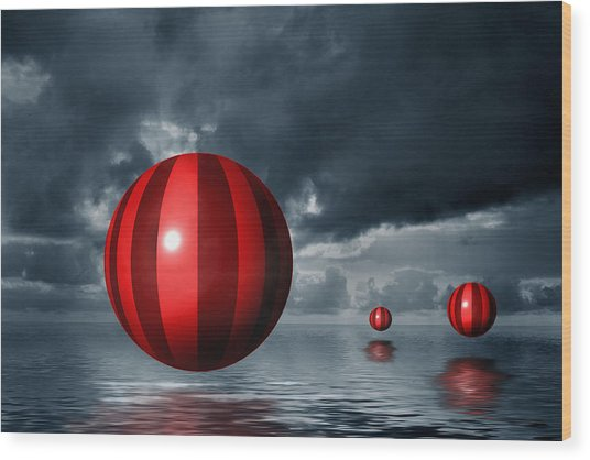 Red Orbs Wood Print by Judi Quelland