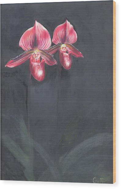 Red Orchids Wood Print