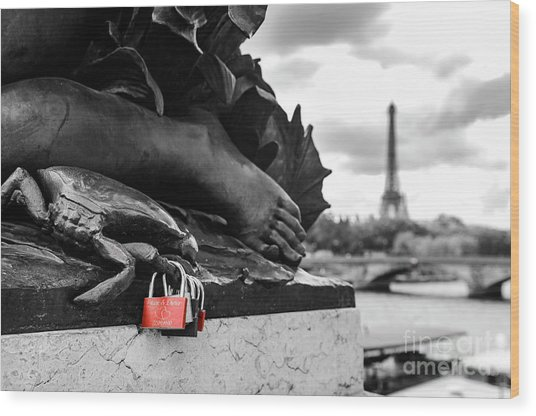 Red Padlocks In Paris Wood Print