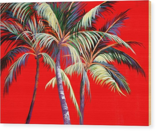 Red Palms Wood Print
