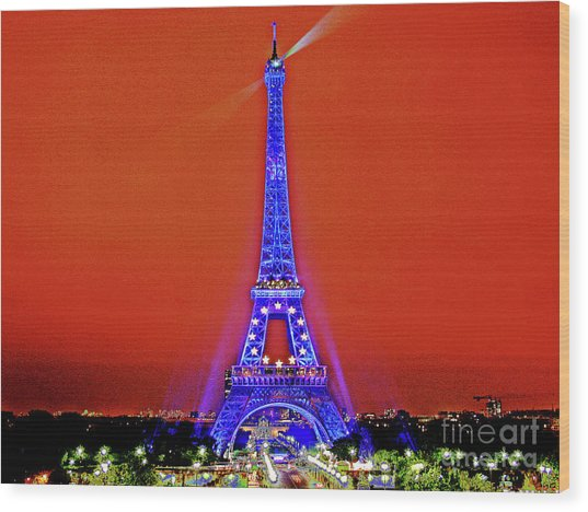Red Paris Sunset  Eiffel Tower Wood Print