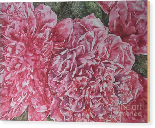 Red Peonies Wood Print