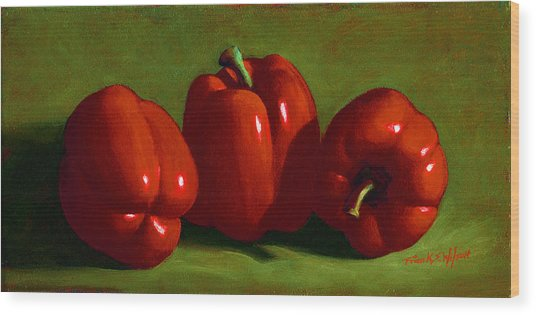 Red Peppers Wood Print