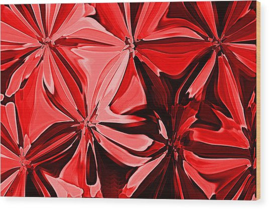 Red Pinched And Gathered Wood Print