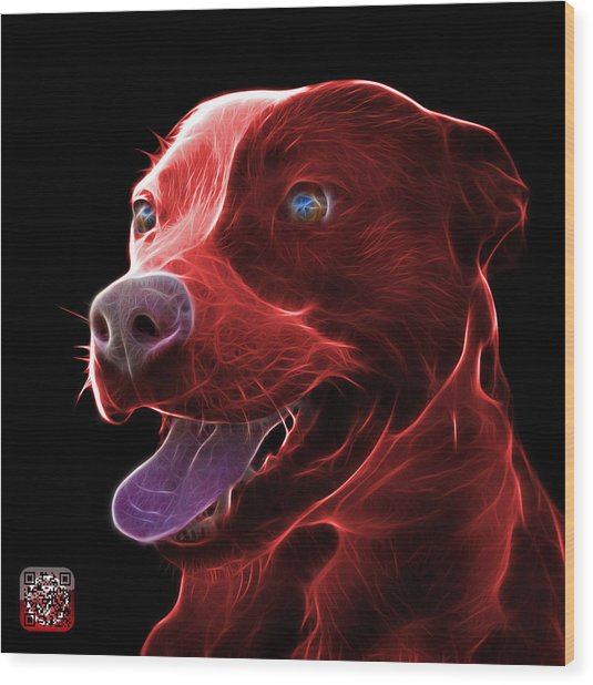 Red Pit Bull Fractal Pop Art - 7773 - F - Bb Wood Print