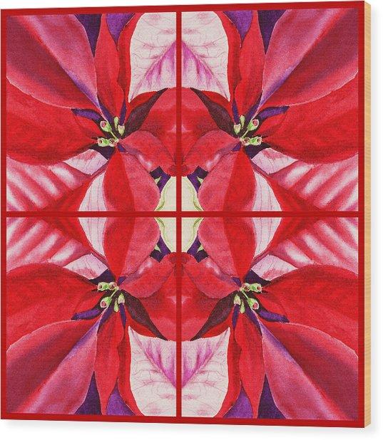 Red Poinsettia Quartet Wood Print