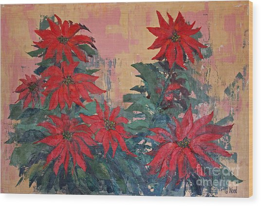 Red Poinsettias By George Wood Wood Print
