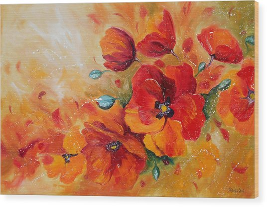 Red Poppies Impressionist Abstract Painting By Artist Ekaterina Chernova Wood Print