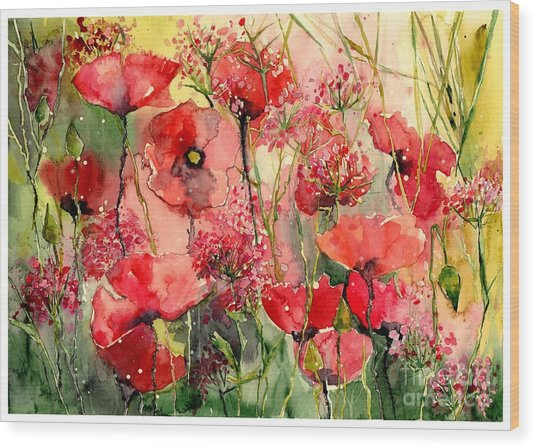 Red Poppies Wearing Pink Wood Print