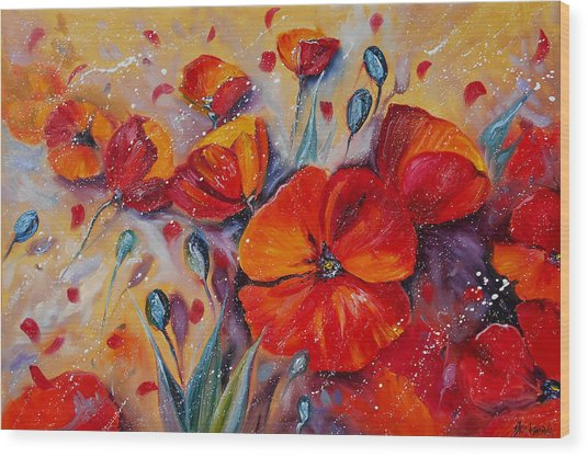 Red Poppy Meadows Wood Print