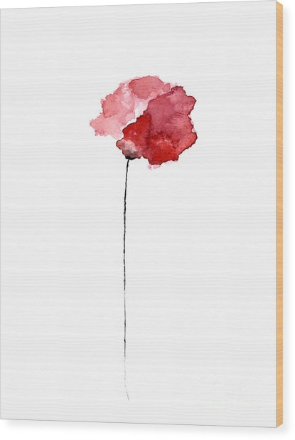 Red Poppy Watercolor Minimalist Painting Wood Print