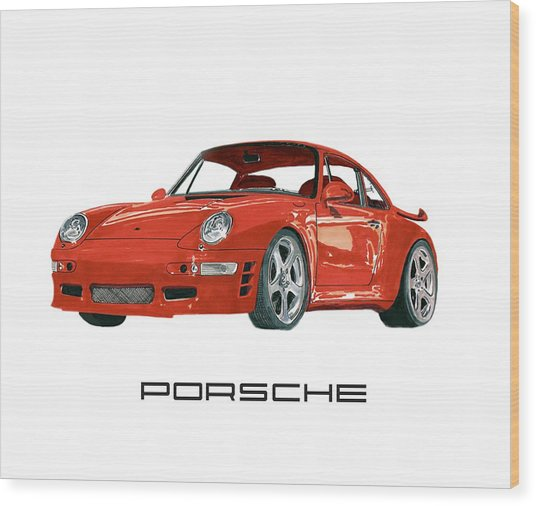 Red Porsche 993 1997 Twin Turbo R Wood Print