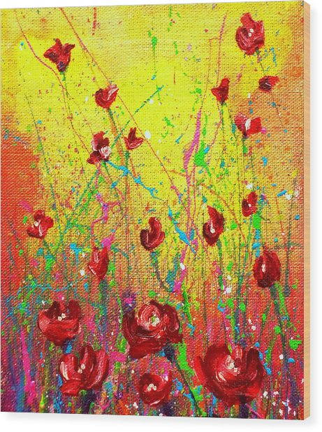 Red Posies Wood Print