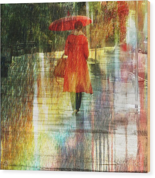 Red Rain Day Wood Print