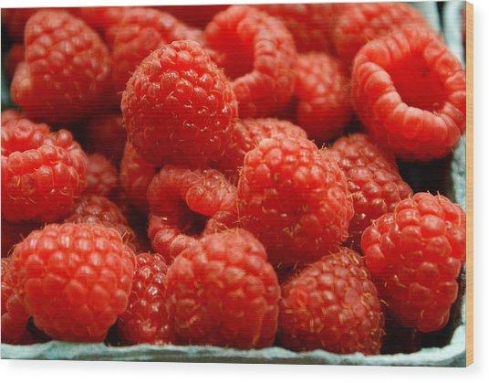 Red Raspberries Wood Print by Sonja Anderson
