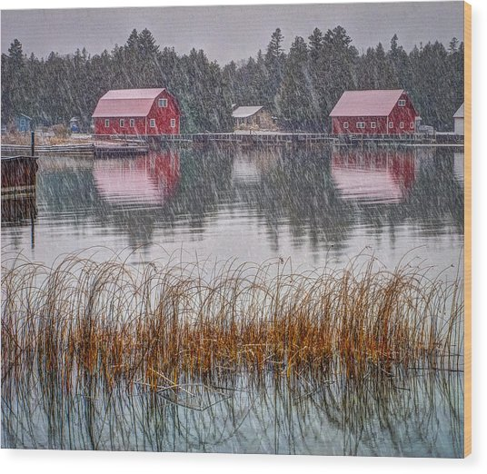 Red Reflection Wood Print