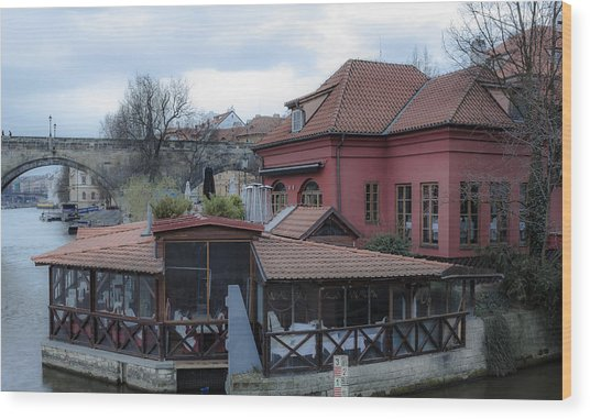 Red Restaurant On Vltava River Wood Print by Marek Boguszak