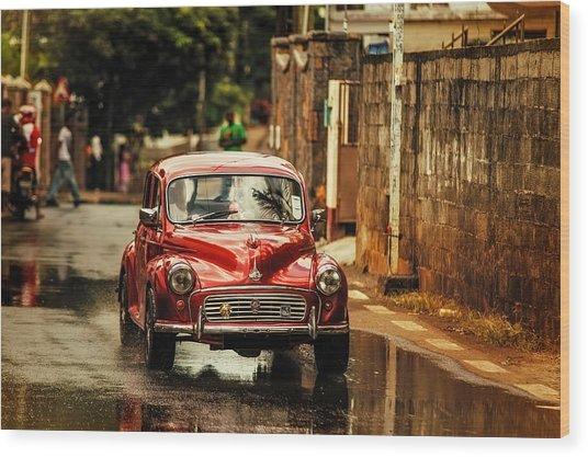 Red Retromobile. Morris Minor Wood Print