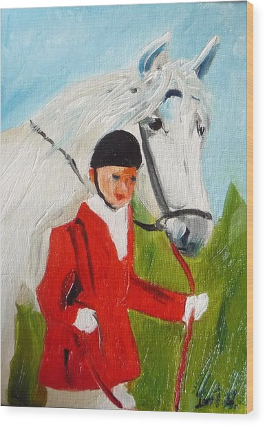 Red Riding Jacket Wood Print by Irit Bourla