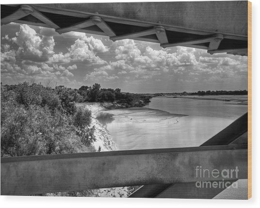 Red River Bridge View Wood Print