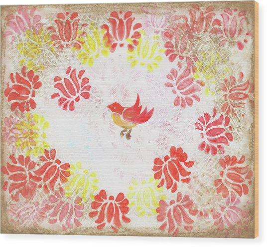 Red Robin Bird Decorative Artwork Wood Print