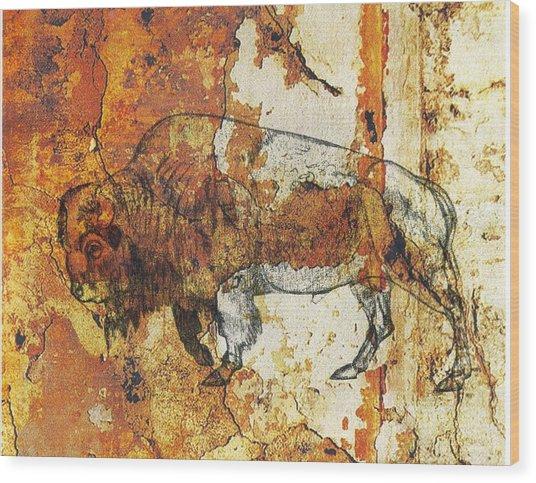 Red Rock Bison Wood Print
