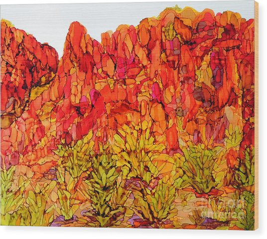 Red Rock Canyon Veiw From The Loop Wood Print