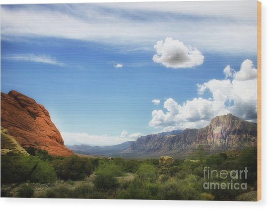Red Rock Canyon Vintage Style Sweeping Vista Wood Print